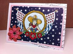 Rachael's Handmade Designs: June Pin Up Challenge: Raise Yer Flag - Bombshell Stamps Creating A Blog, Handmade Design, Bombshells, Raising, Pin Up, Stamps, Flag, Challenges, Paper Crafts