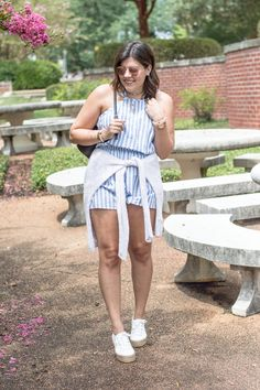 How to Wear your Summer Rompers into Fall, fall fashion, rompers, stripes, open knit sweater, flat form, espadrille, sneakers, white tennis shoes, white shoes, tied around waist, black backpack, kate spade, transition, summer to fall, summer style