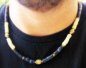 Calcite Necklace with Sodalite Gemstone - Tribal Necklace - Unisex Asian Jewelry - New Custom Handmade Gemstone Necklace - Boho