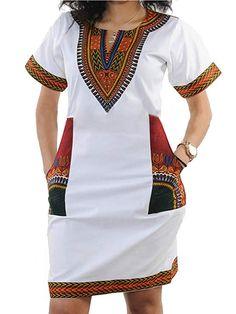 Women's Club Dresses - shekiss Women's Dashiki African Bodycon Dresses Bohemian Vintage Print Club Midi V-Neck Pockets at Women's Clothing store: Short African Dresses, Latest African Fashion Dresses, African Print Fashion, Nigerian Fashion, Ghanaian Fashion, African Prints, Latest Fashion, African Wear, African Attire