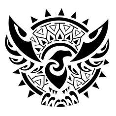 Tatuagem águia com sol Maori