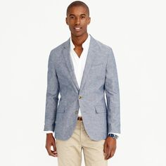 Ludlow summerweight cotton-linen blazer in deep water