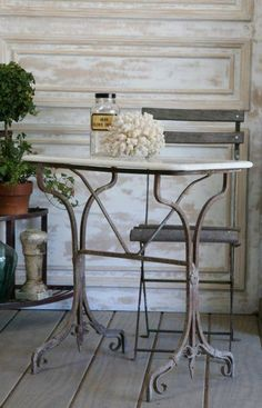 greige: interior design ideas and inspiration for the transitional home: Vintage French... the garden table