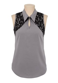 sleeveless collared contrast lace blouse $26.00