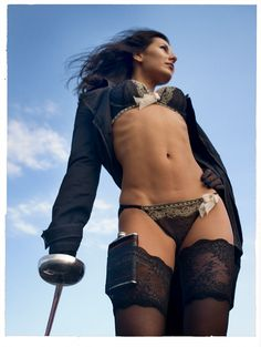 "steampunkporn: "" A lady dressed for a good day in the country. Good use of stocking top for hip flask holder, very sexy. """