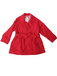 8508de04b4cf Dani by Sarah Louise Red Trench Coat Toddler   Little Girls Sizes 2-6