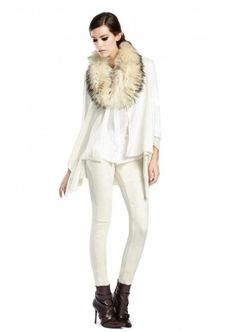IZZY CARDIGAN WITH FUR COLLAR by Alice + Olivia