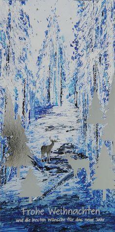 Diese verschneite Winterlandschaft auf der #Weihnachtskarte wurde bemalen und mit foliengeprägten Elchen und Bäumen verziert! 💫 Abstract, Artwork, Painting, Outdoor, Winter Scenery, Make A Donation, Xmas Cards, Artworks, Christmas