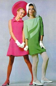 """ Pierre Cardin, 1967. hot pink a line dress with roll collar"