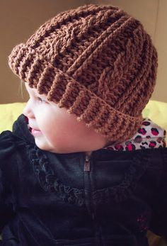MNE Crafts: Free Pattern - Cabled Beanie for kids & adults Crochet Baby Hats, Crochet Beanie, Cute Crochet, Crochet Scarves, Crochet For Kids, Crochet Crafts, Crochet Clothes, Knitted Hats, Crochet Cable