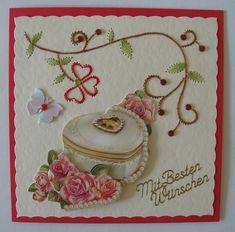 Hochzeitskarte mit Fadengrafik
