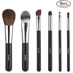 Kitdine Wooden Handle Goat Hair Makeup Brush Set, 6 Pieces - Black * Check out the image by visiting the link. (This is an affiliate link) #BrushSets