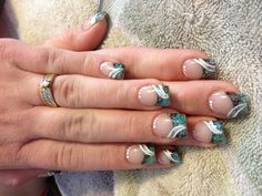Acrylic nail design with sparkle