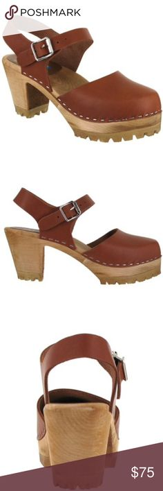 MIA Abba Swedish Clog STILL IN STORES!!! The MIA Abba Swedish wooden clog with a cap toe front and a modern tractor sole, brings back the 70's groovy style. This authentic clog has a leather ankle strap with an adjustable buckle closure and a wooden heel, which makes the Abba the dancing queen. Made in Sweden crafted with the finest Swedish wood and Italian leather. Wear these clogs with print boho pants and a crop top. MIA Shoes Mules & Clogs
