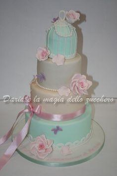 #Torta prima comunione #First communion cake #Birdcage cake #Romantic cake