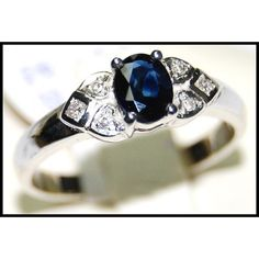 Diamond Solitaire Genuine 18K White Gold Blue by BKGjewels on Etsy