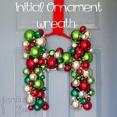 DIY Monogram Ornament Wreath