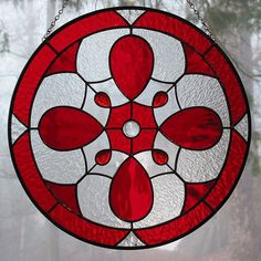 Stained Glass Suncatcher Panel Round Red by LivingGlassArt on Etsy, $100.00