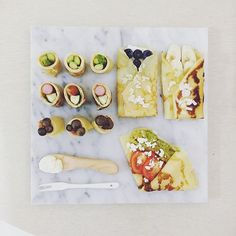 . good morning thursday :-D))) . #goodmorning #morning #breakfast #yummy #goodfood #instafood #onthetable  #homemade #foodie #foodstagram #foodphoto #yum #top_food_of_instagram #S_S_iloveBreakfast #朝食 #早餐 #朝ごパン #baking #crepe #creperoll #烘培 #クレープ #asparagus_sausagezucchini_hammushroom_salty_creperoll #blueberrycreamcheese_crepe #bananaalmond_crepe #fetacheese_avocado_tomato_salad_crepe