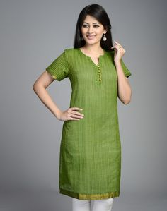 Cotton Mangalgiri Zari Stripe Nizam Border Mini Kurta