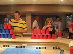Stack Attack ~   Stack 36 cups into a perfect triangle shape without knocking any over. Once that is complete, put all of the cups back into a single stack– all in under 1 minute!