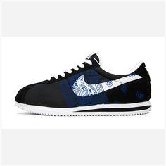new arrivals e9bd3 42c74 Bandana Fever Royal Blue Bandana Sides Print Custom Black White Nike Cortez  Shoes
