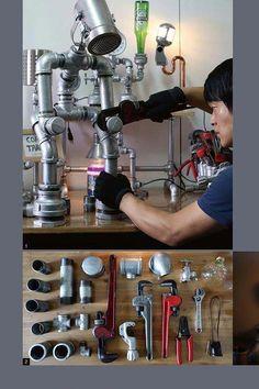 Metal Pipe, Plumbing Pipe, Metal Art, Industrial Pipe, Industrial Lighting, Vintage Industrial, Industrial Style, Lampe Tube, Alcohol Dispenser