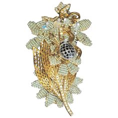 STANLEY HAGLER Spider on Flowers Brooch Pin | From a unique collection of vintage brooches at http://www.1stdibs.com/jewelry/brooches/brooches/