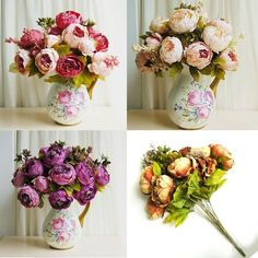 1 Bouquet Beautiful Artificial Peony Silk Flower Leaf Party Home Wedding Decor