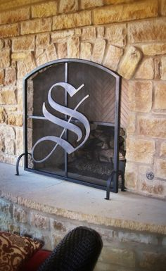 Freestanding Fireplace Screen With Plasma Cut Letter Intial. We Used A  Bronze Patina Finish.