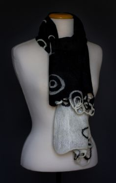 Nuno felted shawl BLACK and WHITE with intertwining lines by Sweetjroom.