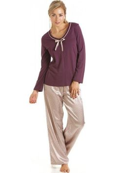 Camille Luxury Purple Cotton Modal Satin Pyjama Set dd83a5d77