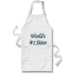 World's #1 Sister 3D Aprons, Blue-Green