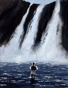 Fly Fishing Art Print DRY FLYING The FALLS Signed by k9artgallery, $12.50