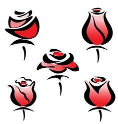 Rose set of symbols Royalty Free Vector Image - VectorStock