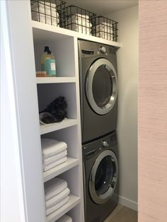 "Excellent ""laundry room stackable washer dryer"" info is available on our web pag. Excellent ""laundry room stackable washer dryer"" info is available on our web pages. Read more a Modern Laundry Rooms, Laundry Room Layouts, Laundry Room Remodel, Laundry Closet, Laundry Room Organization, Laundry Room Design, Laundry In Bathroom, Laundry Room Shelves, Basement Laundry"