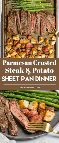 Dinner on one pan with this Parmesan Crusted Steak and Potato Sheet Pan Dinner means simple and delicious dinner without the extra dishes! Juicy flank steak and crispy potatoes served with asparagus. A full meal on one pan! #dinner #sheetpandinner #dinnerrecipe #easyrecipe #dinnertime #steak #steakandpotatoes