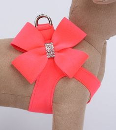 Nouveau Bow Step in Harness by Susan Lanci Designs in Electric Pink