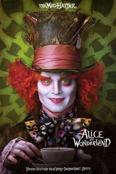 Johnny Depp, The Mad Hatter, invites you to a very important date in this great Alice in Wonderland movie poster! Fully licensed. Ships fast. 24x36 inches. Need Poster Mounts..? av