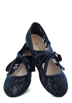 Off-Screen Darling Flat in Indigo by Restricted - Flat, Sheer, Blue, Solid, Cutout, Lace, Darling, Lace Up, Daytime Party, Variation