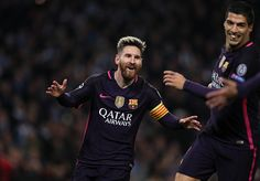 Lionel Messi of Barcelona celebrates scoring the first goal to make the score 01 during the UEFA Champions League match between Manchester City FC...