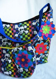 Rainbow Checker Skulls Purse and Clutch by BrookeVanGoryDesigns, $69.99