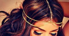 Gorgeous brunette with gold chain hippie/boho headwrap/headband/hair piece