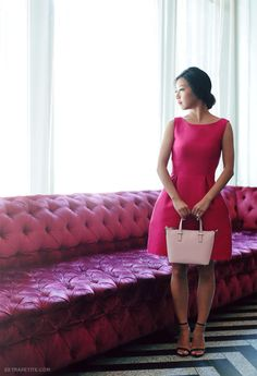 Little pink dress + Kate Spade cedar street harmony crossbody bag