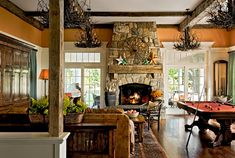 Furniture Rustic Family Room Stone Fireplace Designs Billiard Table Brilliant Stone Fireplace Design Both in Classic and Modern Style Rustic Fireplace Tools, Stone Fireplace Designs, Fireplace Mantles, Rustic Fireplaces, Fireplace Modern, Farmhouse Fireplace, Rustic Mantle, Country Fireplace, Rustic Wood