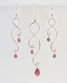 Argent boucles d'oreilles et collier Set - cintrage de fil et de cristaux ou de perles