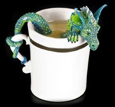 - Height: 10 cm - Width: cm - Depth: 7 cm - Material: Cold Cast Resin - hand painted - by Amy Brown Clay Dragon, Fire Dragon, Dragon Art, Dragon Crafts, Amy Brown, Magical Creatures, Fantasy Creatures, Ceramic Mugs, Ceramic Pottery
