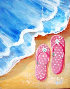 Vino and Canvas Flip Flops
