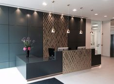 Miles and Lincoln - the UK& leading designer of laser cut screens for decorative interior panels, external architectural cladding, balustrades and ceilings Commercial Office Design, Dental Office Design, Office Interior Design, Home Interior, Office Counter Design, Modern Interior, Corporate Office Design, Interior Work, Healthcare Design