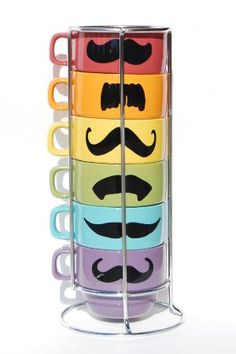 Pastel Multi Color Mustache Coffee Mugs Spring set - set of 6 stackable mugs and chrome holder from lovegracejoy on Etsy. Saved to awesomeness.